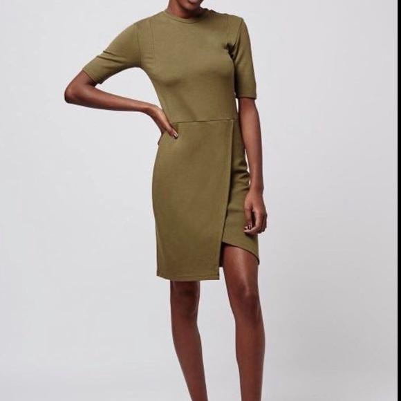 Topshop Dresses & Skirts - Topshop khaki wrap dress